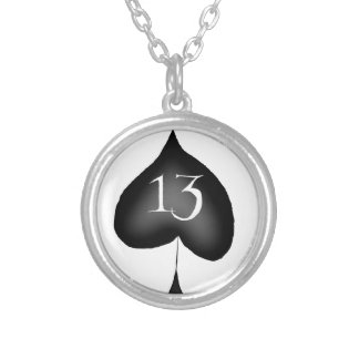 13 of spades silver plated necklace