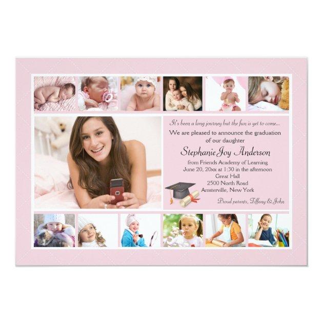 13 Photo Graduation Collage (Custom) 5x7 Paper Invitation Card (front side)