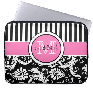 """13"""" Pink Black White Damask Striped Laptop Sleeve"""