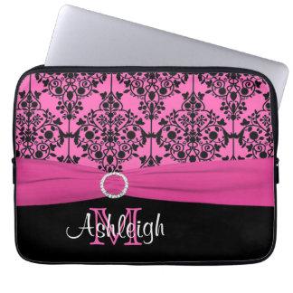 """13"""" Pink Black White FAUX Ribbon Laptop Sleeve"""