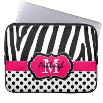 "13"" Pink Black Zebra Stripes Polka Dot Laptop Case"