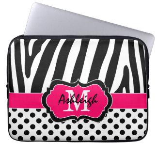 "13"" Pink Black Zebra Stripes Polka Dot Laptop Case Laptop Sleeve"