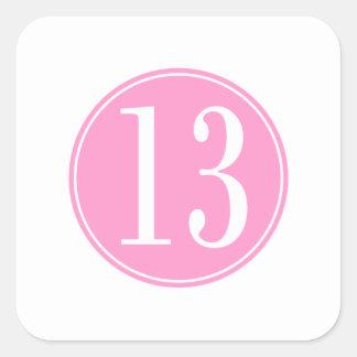 #13 Pink Circle Square Sticker