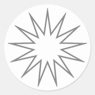 13 Pointed Star grey Classic Round Sticker