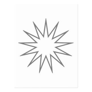 13 Pointed Star grey Postcard