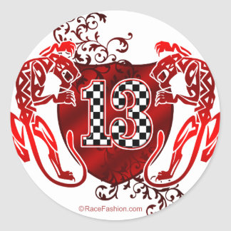 13 race car number classic round sticker