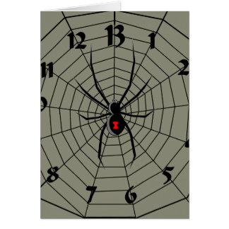 13 reloj de la araña de trece horas tarjeta de felicitación