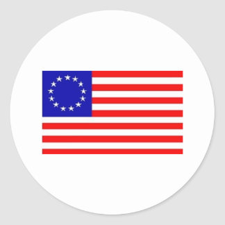 13 STAR AMERICAN FLAG ROUND STICKERS
