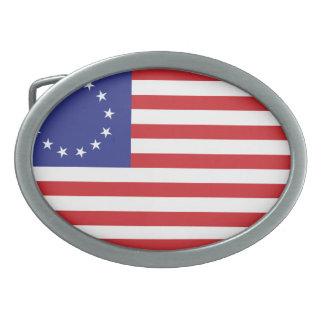 13-Star United States Flag Oval Belt Buckle