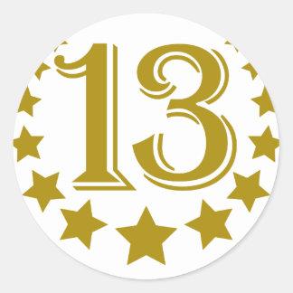 13-stars-Birthday.png Classic Round Sticker