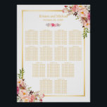"13 Tables Wedding Seating Chart Classy Chic Floral<br><div class=""desc"">================= ABOUT THIS DESIGN ================= Classy Chic Floral - 13 Tables Wedding Seating Chart Poster. (1) Please click the &quot;Customize it&quot; button and use our design tool to enter guests names. (2) The background color is changeable. All text style, colors, sizes can also be modified to fit your needs. (3)...</div>"