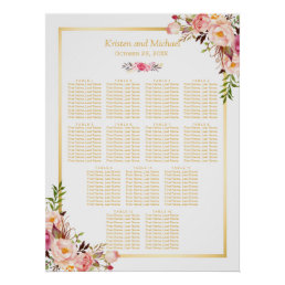 13 Tables Wedding Seating Chart Classy Chic Floral