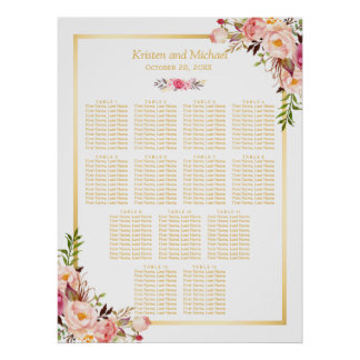 13 Tables Wedding Seating Chart Classy Chic Floral Poster