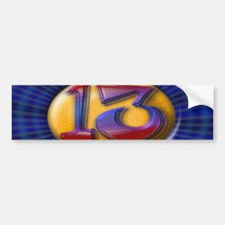 13 - Thirteen Car Bumper Sticker