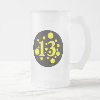 13-Thirteen Frosted Glass Beer Mug