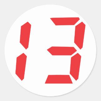 13 thirteen  red alarm clock digital number stickers