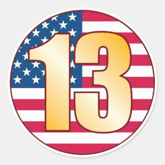 13 USA Gold Classic Round Sticker