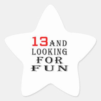 13 y buscar diseños del cumpleaños de la diversión calcomania forma de estrella