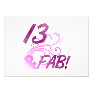13 y cumpleaños fabuloso invitaciones personales