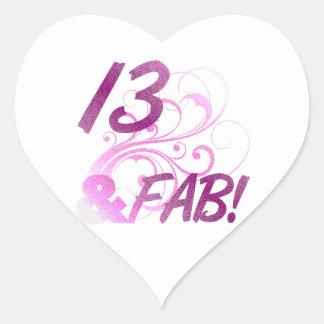 13 y cumpleaños fabuloso pegatina en forma de corazón