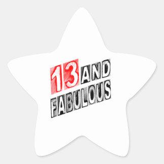13 y fabuloso calcomania forma de estrella personalizada