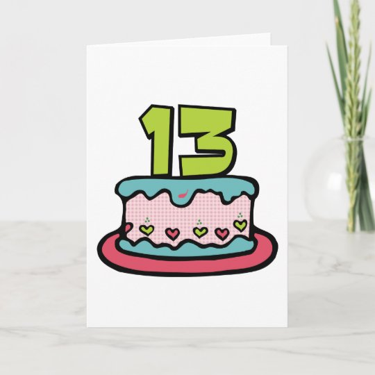 13 Year Old Birthday Cake Card