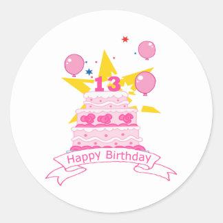 13 Year Old Birthday Cake Round Stickers