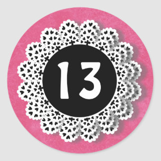 13 Year Old Birthday Sticker Pink and Lace V009L