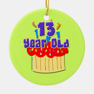 13 Year Old Double-Sided Ceramic Round Christmas Ornament