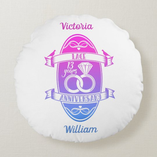 13 Year Traditional Lace 13th Wedding Anniversary Round Pillow