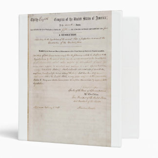 13th Amendment of the United States Constitution 3 Ring Binder
