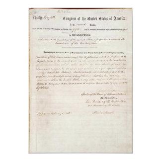 13th Amendment of the United States Constitution 5x7 Paper Invitation Card