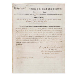 13th Amendment of the United States Constitution Postcard
