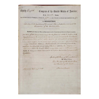 13th Amendment of the United States Constitution Poster