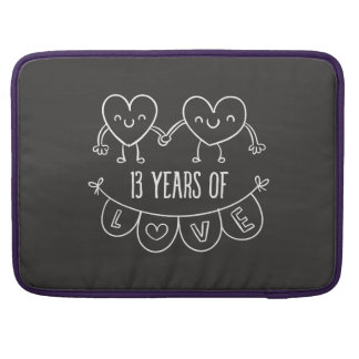 13th Anniversary Gift Chalk Hearts MacBook Pro Sleeves