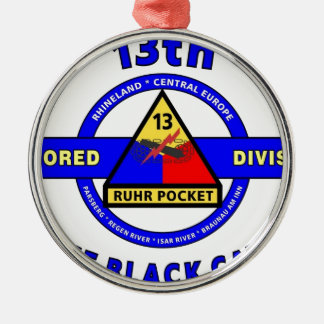 """13TH ARMORED DIVISION """"RUHR POCKET""""DIVISION METAL ORNAMENT"""