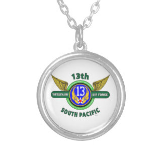 "13TH ARMY AIR FORCE ""SOUTH PACIFIC"" WW II SILVER PLATED NECKLACE"