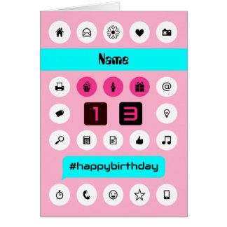 13th birthday add name smartphone inspired pink card