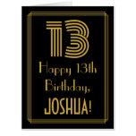 "[ Thumbnail: 13th Birthday: Art Deco Inspired Look ""13"" + Name Card ]"