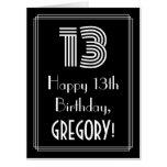 "[ Thumbnail: 13th Birthday — Art Deco Inspired Look ""13"" + Name Card ]"