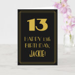 "[ Thumbnail: 13th Birthday ~ Art Deco Inspired Look ""13"" & Name Card ]"