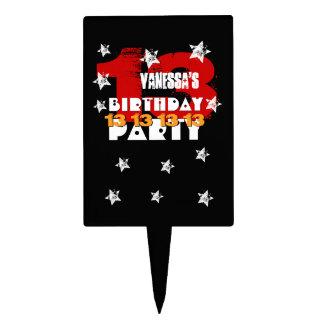 13th Birthday Black Red White Stars K02Z Cake Topper