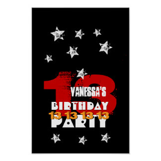 13th Birthday Black Red White Stars K02Z Poster