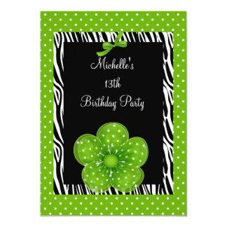 13th Birthday Black White Zebra Green Spot Flower Card