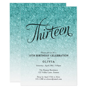 60 off 13th birthday invitations shop now to save zazzle 13th birthday blue ombre glitter invitation filmwisefo