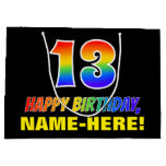 [ Thumbnail: 13th Birthday: Bold, Fun, Simple, Rainbow 13 Gift Bag ]