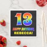 [ Thumbnail: 13th Birthday: Bold, Fun, Simple, Rainbow 13 Napkins ]