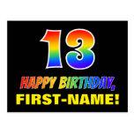[ Thumbnail: 13th Birthday: Bold, Fun, Simple, Rainbow 13 Postcard ]
