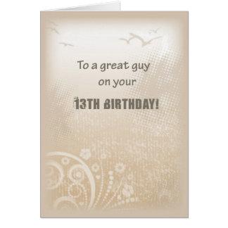 13th Birthday Boy Beige Birds Card
