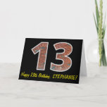 "[ Thumbnail: 13th Birthday - Brick Wall Pattern ""13"" W/ Name Card ]"